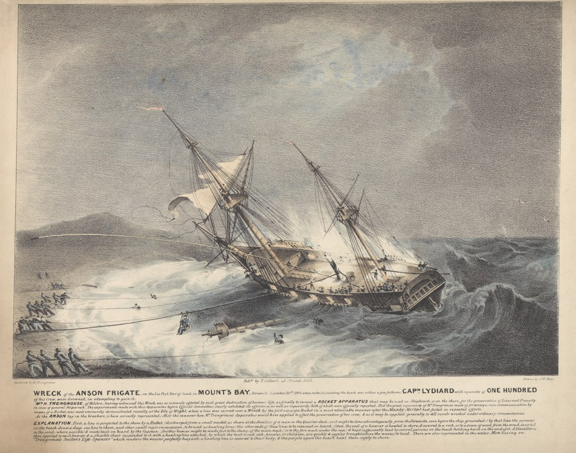 Wreck of the Anson Frigate, on the Loe Pool Bar of Sand, in Mount's Bay, Cornwall, December 28th 1807.